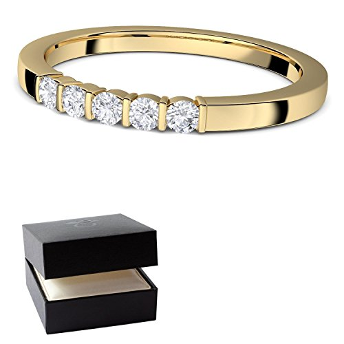 Ring Gold von AMOONIC mit SWAROVSKI Zirkonia (Silber 925 hochwertig vergoldet) Verlobungsringe + LUXUSETUI! Goldring Gelbgold Ring Zirkonia wie Diamant Solitär Frau Ringe Verlobung FF583VGGGZIFA56