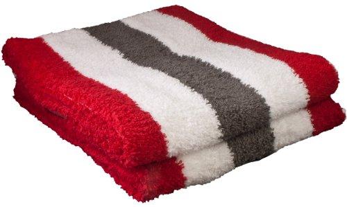 Gözze Handtuch 2er-Set, 100% Baumwolle, 50 x 100 cm, New York, Streifen, Anthrazit/Weiß/Rot, 555-8600-A4