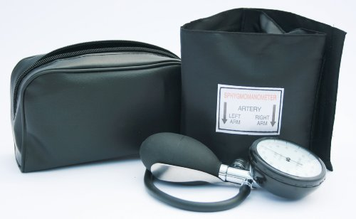 Aneroid Sphygmomanometer - with 1 Adult Cuff and Black Stethoscope - Blood Pressure Monitor Kit by ICE Medical
