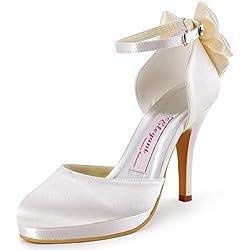 ElegantPark AJ091-PF Scarpe da sposa con tacco plateau scarpe chiuse donna (Avorio), 36