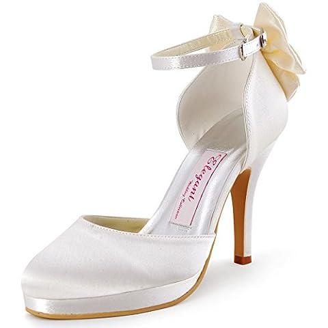 ElegantPark AJ091-PF Satin Aiguille Plateforme Noeud Talon Haut Bride cheville Pompes Femme Chaussures de Mariage Mariee Ceremonie Ivoire 38