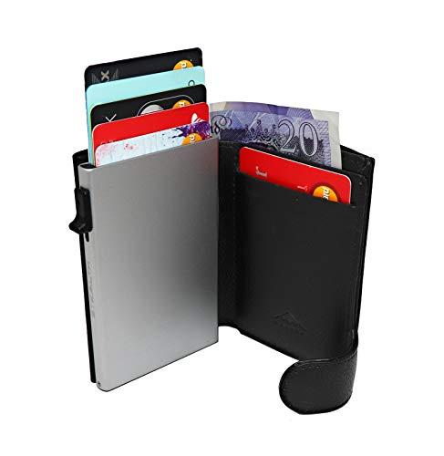 STEALTH Wallet | Minimalistischer RFID Blocker aus Aluminium mit Kreditkartenetui und Geschenkbox (Silber mit schwarzem Leder und Münzfach) - Super Protector
