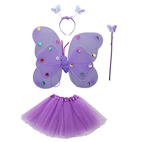 Gazechimp Baby 4er Bekleidungsset (Rock + Stirnband + Flügel + Zauberstab), Schmetterling Kostüm für neugeborene Mädchen - Lila