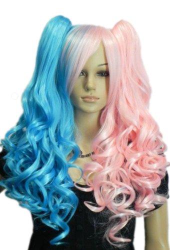 QIYUN.Z Haarteile Damen Perücken Blau Pink Mix Lolita Vollem Pony Lange Wellenförmige Lockige Hitzebeständige Faser Synthetische Haar Voller Anime Cosplay Kostüm Perücke (Langes Lockiges Haar Kostüme)
