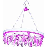 DUBE Store-Round Shape Plastic Cloth Drying Hanger 30 Clip (Multicolor)