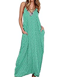 Mujer Vestido Elegante Casual Dress Cuello V Sin Manga Playa Tirantes Bolsillos Punto Falda Larga
