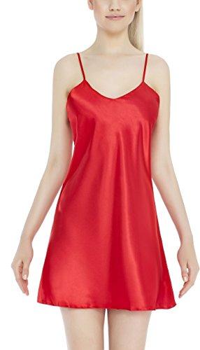 m.Lyra Damen Nachtwäsche Negligee aus Satin Beate (XS �?2XL) Rot