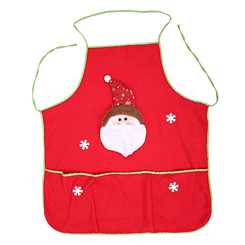 Ouken Rot Weihnachten Schürze Cartoon Santa Muster Küchenschürze mit Tasche Idee für lustige Festliche Kostüm (Kostüm Ideen Cartoons)