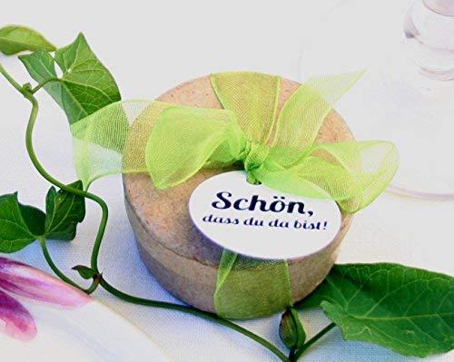 Die Seedball-Manufaktur Die DASS Du da bist mit apfelgrüner Schleife Gastgeschenk mit Anhänger Schön, Naturfarbene Dose, 5 cm im Durchmesser (Bezahlung Für Artikel In Den Warenkorb)