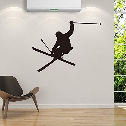 guijiumai Skier Sport Gioco Adesivi murali creativi Rimovibili per Ragazzi Soggiorno Camera da Letto Decorazioni per la casa Arte Decalcomanie in Vinile Murales87X63CM