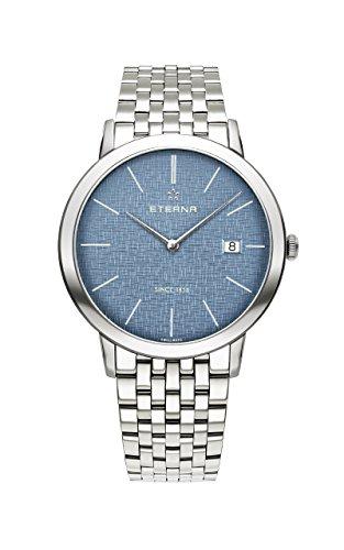 Eterna Eternity Gent Quartz Uhr, ETA 955.112, 40mm., Blau, Stahlband