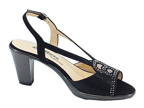 Sandali Melluso in camoscio nero con bulloncini argento tacco 7cm Nero