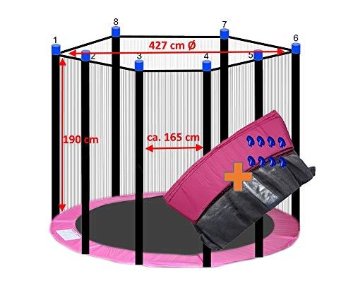 awshop24 Trampolin Randabdeckung Pink + Sicherheitsnetz 8 Stangen 427-430 cm Ø