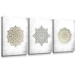 Sumgar Mandala - Impresión artística sobre lienzo, diseño de bohemio dorado, para dormitorio, listo para colgar, 30 x 40 x 3 piezas