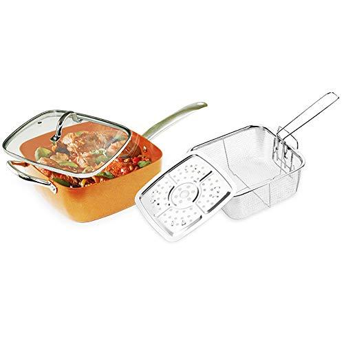 H&RB Cookware De 4 Pedazos Set-9,5' Cacerola De Freír Cuadrada Profunda con La Capa De Cerámica del Palillo No, Incluye La Tapa De Cristal, Cesta De La Fritada, Estante del Vapor,Brass
