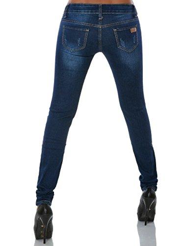 Damen Skinny Jeans Hose Denim (Röhre) No 15700 Blau
