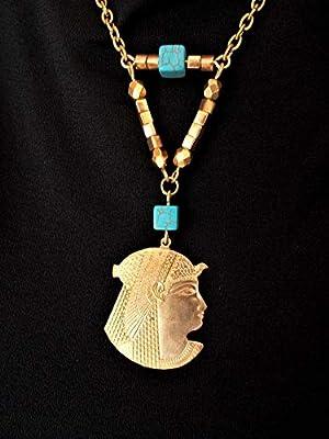 Collier égyptien doré, déesse Néfertiti, perles turquoise