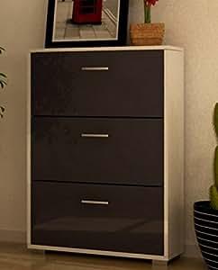 Scarpiera legno design moderna tre ante bianco laccato - Emporio del mobile in kit ...