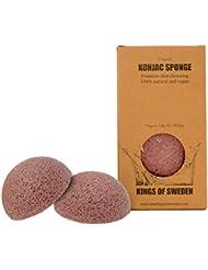 Kings of Sweden Éponge de konjac d'argile rose terre (lot de 2 éponges) pour peaux matures et fatigués - 100 % naturel, végétalien, durable, entièrement biodégradable.