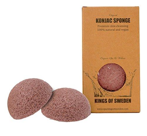 Kings of Sweden Esponja de Konjac arcilla (Set de ahorro con 2 esponjas) - Esponja de limpieza facial para pieles maduras y cansadas - 100% natural, vegan, sostenible, biodegradable!