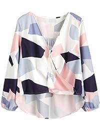 Reaso Femme Chemise Retro Kimono Col V Shirt Manches Longues Blouse Tunique Chic Tops Casual Chemisier Automne Shirt Elegant Crop Top