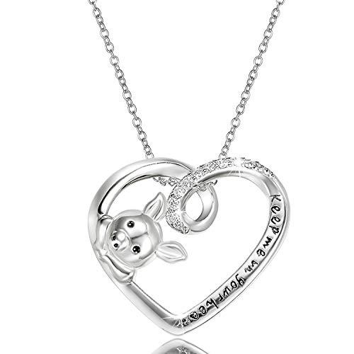 Aroncent Kette Damen süße Schwein Herz Halskette Anhänger mit Gravur Keep Me in Your Heart 925 Sterling Silber Zirkonia Schmuck Silber Geschenk für Frauen Mädchen - Schwein-anhänger-halskette