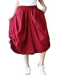 5182c361e212d6 Kasen Donna Pantaloni Gamba Larga Pantalone Cintura Elastica Elegante  Culottes