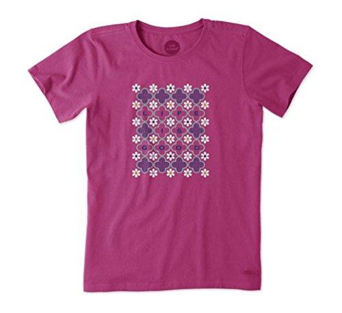 Life Is Good Damen T-Shirt, Karomuster, Gänseblümchen-Motiv, Sassy Magenta, Damen, Sassy Magenta, Small
