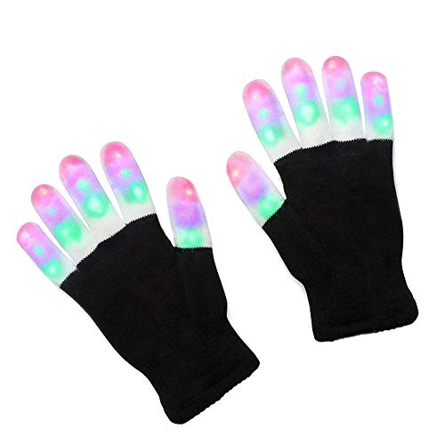 ige Party Rave LED Blinkhandschuhe Glow Light Up Finger Lighting Halloween Handschuhe - Schwarz + Weiß ()