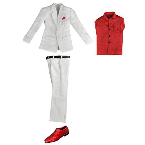 MagiDeal 1/6 Puppenkleidung Hochzeitsanzug Set , Jacke + Hosen + Hemd + Gürtel + Schuhe - Outfit...