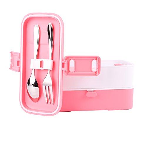 Image of Lunchbox/Bento-Box aus unschädlichem Material, mikrowellengeeignet, mit Besteck auf der Deckelinnenseite, rechteckig, zwei Einheiten, auslaufsicher, für Jugendliche, Kinder, Diätportionen rot