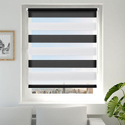 Double Store Enrouleur Jour Nuit pour Fenêtre & Porte – Montage Facile sans Perçage - Blanc Noir 45 x 150 cm