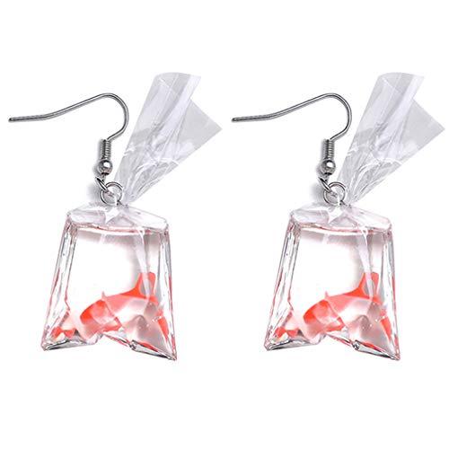 SUNSKYOO Frauen Mädchen Legierung Tier Fisch Baumeln Ohrringe Ohrbügel Clip, ohrbügel rot (Ohrringe Fisch)