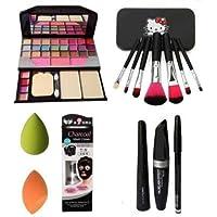 BTN Combo Face Makeup Kit With 7pcs Makeup Brush Set With Tya 6155 Makeup Kit + 2 Pc Beauty Blender Multicolour For Face…