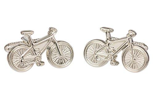 Classic Fahrrad Shirt Manschettenknöpfe erhältlich in Gold oder Silber Farbe–In GS Manschettenknöpfe Box, silberfarben, onesize