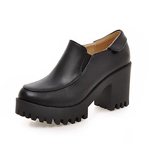 AgooLar Femme à Talon Haut Tire Couleur Unie Matière Souple Rond Chaussures Légeres Noir