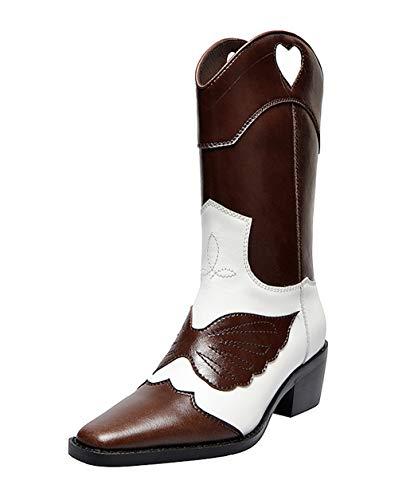 SimpleC Damen Ziehen Sie an Westernreitstiefel Cowboy Cowgirl Boots schokoladenweiß37 EU -