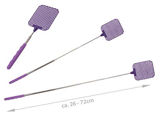 Alsino Fliegenklatsche Fliegenpatsche Mückenklatsche Ausziehbar 26-73 cm Uni-Farben Extralanges Teleskop Fläche 9,5 x 8,3 cm, Variante Wählen:P869026 Lila