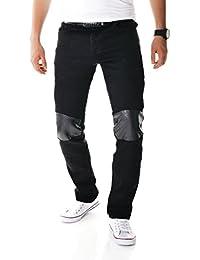 D&R Fashion Noir Skinny Jeans Pantalons Pantalon Hommes avec Motif de peau décorative serpent sur Knees et poches arrières