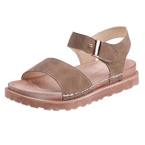 r Sandalen Bohemian Flach Sandaletten Sommer Strand Schuhe,Sandalen Weibliche Sommer Dickbesohlte Muffins Römische Sandalen Strandschuhe mit flachem Boden ()