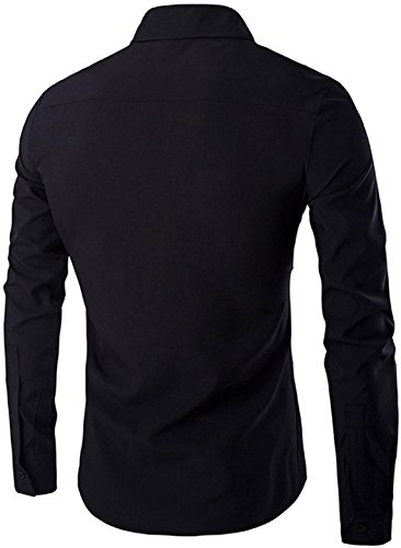 Jeansian Hommes Mode Chemises Casual Manches Longues Simple Men's Slim Fit Long-Sleeved Shirt Tops 84J7 Black
