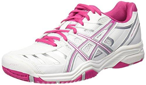 Asics Performance Gel-Challenger 9 Damen Tennisschuhe, Weiß/Pink/Silber, EU 42 (US 10) (Asics Court Indoor Schuhe)