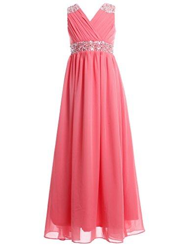 FAIRY COUPLE Mädchen verschönert V-Ausschnitt bodenlanges Blumenmädchen Kleid für Hochzeit K0156 8 Korallen (Kleider Fairy Für Kinder)