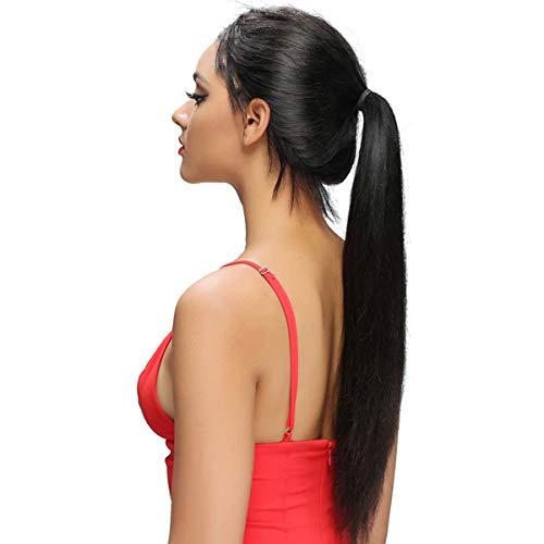 Remy Echthaar Perücke 360 Lace Frontal Wig Natural Black Straight Bleached Knots mit Baby Hair Glatt Free Part 130% Dichte Malaysisches Haar Human Hair Wigs for Women 20 zoll -