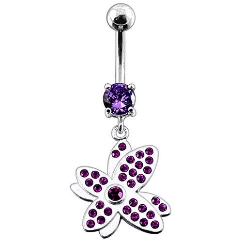 Bijou de nombril Papillon pierres fantaisies Multi cristal pendant Argent Sterling 925 avec Banane 14Gx3/8(1.6x10MM) en acier chirurgical 316L et boule 5mm. Purple