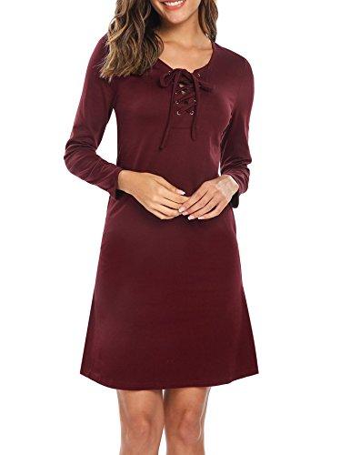 Meaneor Robe Longue Manche Longue Femme Poche Col-O Cintré Vin Rouge XL