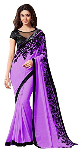 LAXMI FASHION Women's Georgette Saree (Purple)