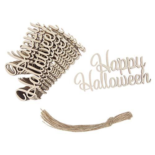 baoyl 100Happy Halloween Holz Crafts zum Aufhängen Anhänger Home Party Festival Decor DIY Ornaments Funny Tags