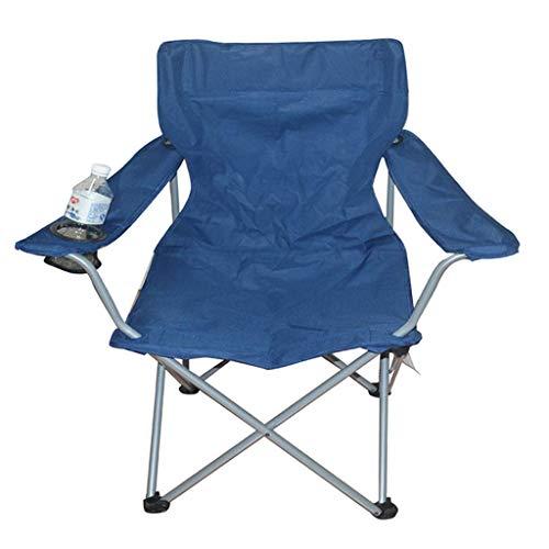 Camping Chair Heavy Duty Lordosenstütze Übergroße Quad Arm Chair Gepolsterte Folding Deluxe mit Getränkehalter und Tragetasche, Unterstützt 350 lbs - Blau,A -