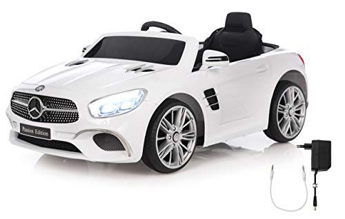 Jamara 460438 Ride-on Mercedes-Benz SL 400 12V – 2 Leistungsstarke Antriebsmotoren und Akku für Lange Fahrzeit, Micro-SD-Slot, AUX-/USB-Anschluss, LED-Scheinwerfer, Ultra-Grip Gummiring, weiß*